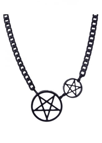 Restyle Black Double Pentacle Gothic Chain