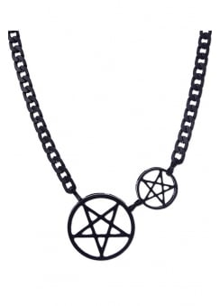 Black Double Pentacle Gothic Chain