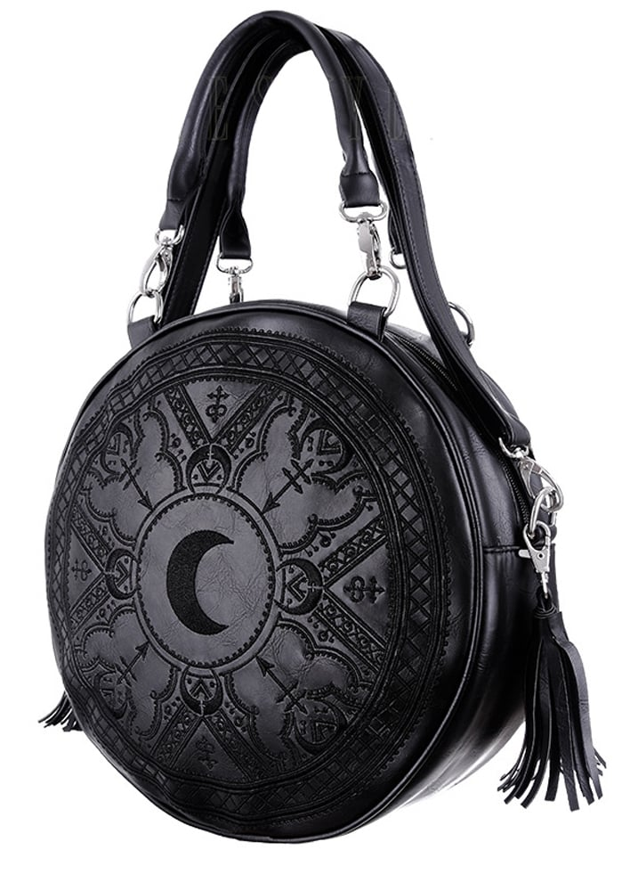 Restyle Henna Black Embroidered Round Bag