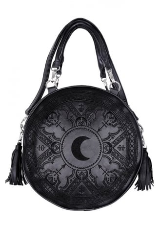 Restyle Henna Black Embroidered Round Bag
