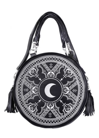 Restyle Henna White Embroidered Round Bag