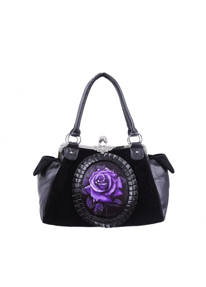 Restyle Purple Rose Cameo Velvet Bag