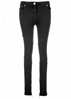 Ribbed Panelled Zip Detail Skinny Biker Jeans