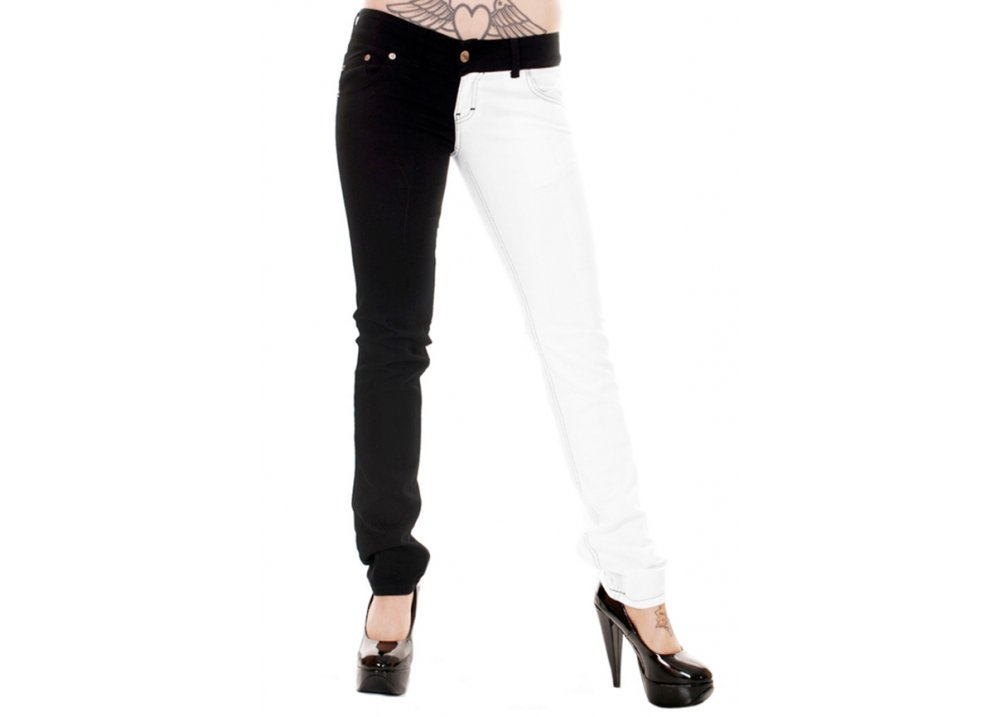 big sale best place for aesthetic appearance Black & White Split Leg Stretch Skinny Jeans
