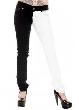 Black & White Split Leg Stretch Skinny Jeans
