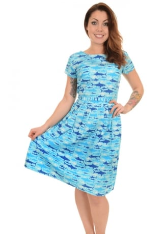 Run & Fly Jaws Retro Tea Party Dress