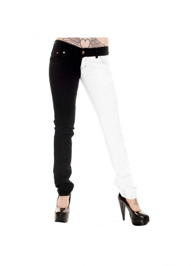 Run & Fly Mid Rise Black & White Split Leg Stretch Skinny Jeans