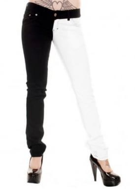 Mid Rise Black & White Split Leg Stretch Skinny Jeans