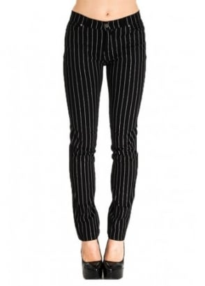 Pinstripe Stretch Skinny Jeans