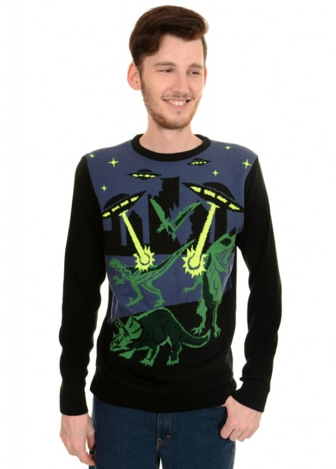 Run & Fly UFO Dino Christmas Jumper