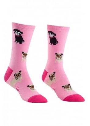 Pink Pugs Socks