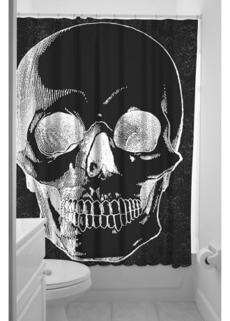 Sourpuss Clothing Anatomical Skull Shower Curtain