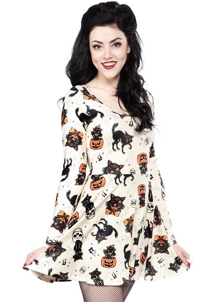 Sourpuss black cat skater dress