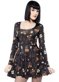 Black Cats Skater Dress