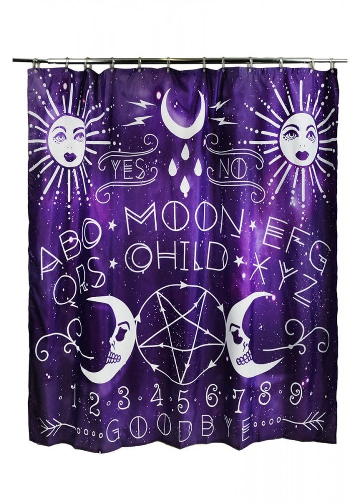 Moon Child Spirit Board Purple Ouija Shower Curtain