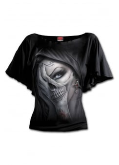 Dead Hand Boat Neck Gothic Bat Sleeve Top