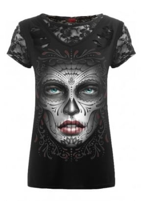 Death Mask 2 In 1 Ripped Lace Top