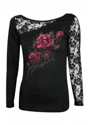 Death Rose Lace Shoulder Top