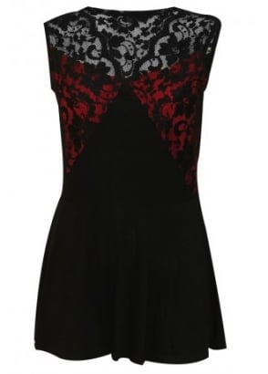 Gothic Elegance Lace Yoke Red Inset Dress