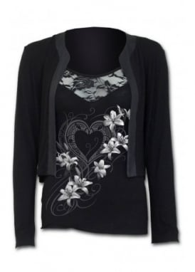 Pure Of Heart 2 In 1 Gothic Lace Vest Cardigan