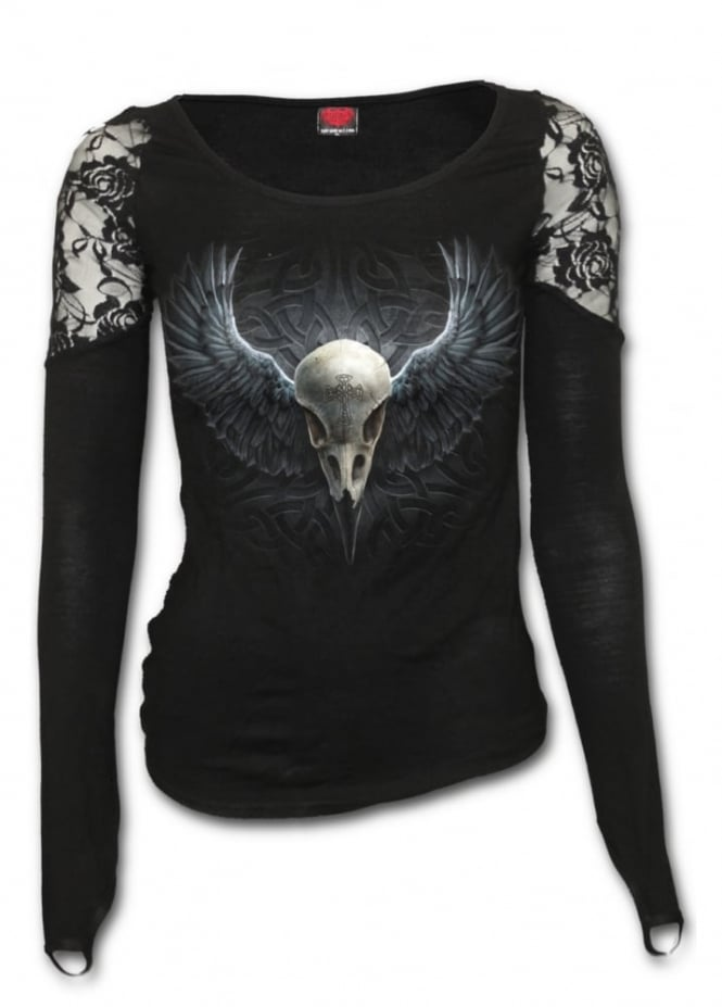 Spiral Direct Raven Cage Shoulder Lace Gothic Top