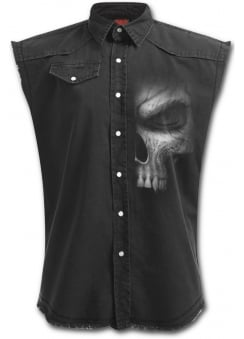 Shadow Master Sleeveless Stone Washed Gothic Worker Shirt