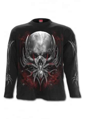 Spiral Direct Spider Skull Long Sleeve Gothic T-Shirt