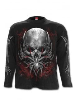 Spider Skull Long Sleeve Gothic T-Shirt