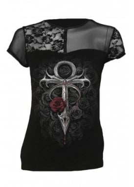 Vampire's Kiss Contrasting Lace & Mesh Gothic Top