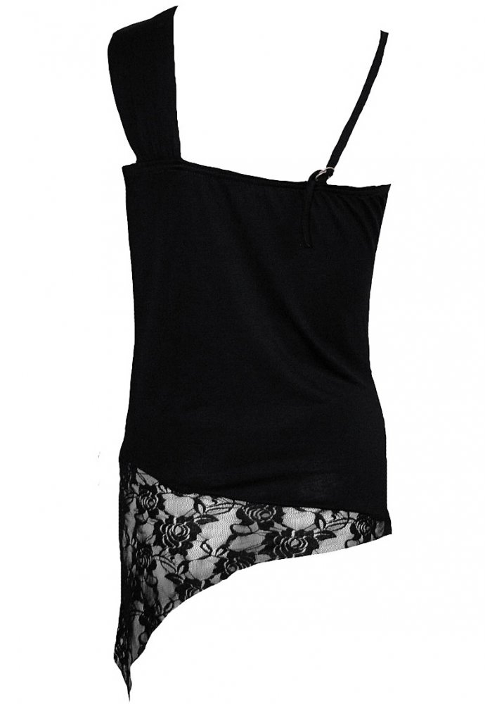 Spiral Obsidian Lace Shoulder Top | Attitude Clothing