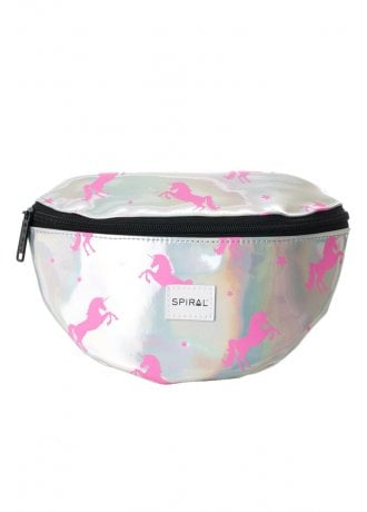 Spiral UK Silver Pink Unicorns Bum Bag