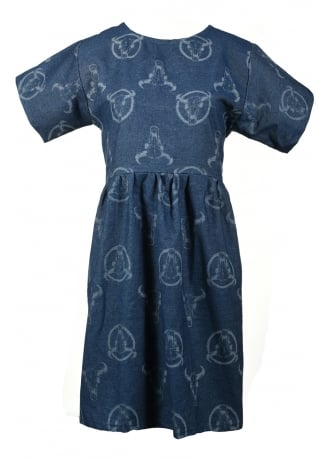 Syd & Mallory Western Print Slouch Cross Back Denim Dress
