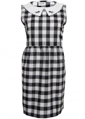 Black Gingham Dress With Unicorn Collar