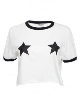Black Glitter Star Top