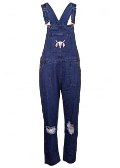 Embroidery Patch Denim Dungarees