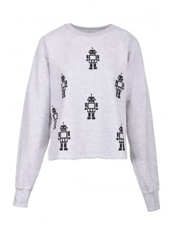 Grey Boxy Robot Sweater