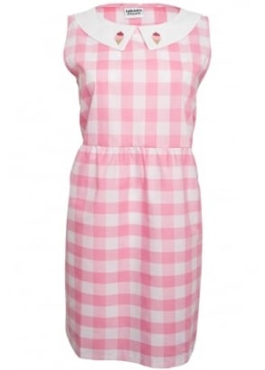 Pink Gingham Dress With Ice Cream Collar