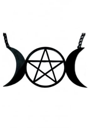 Black Triple Goddess Pendant Necklace