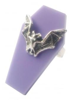 Lilac Bat Coffin Ring