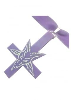 Lilac Inverted Cross Baphomet Choker