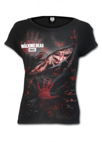 The Walking Dead  Blood Hand Prints Ripped Cap Sleeve T-Shirt