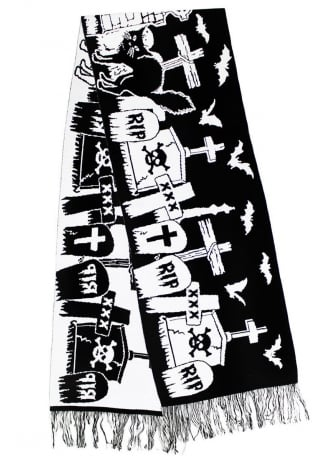Too Fast Graveyard Halloween Scene Large Knit Scarf