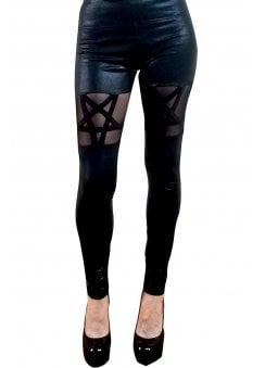 9e2aeacf8 Queen Of The Damned Black Glitter Pentagram Leggings. Too Fast ...