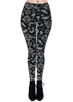 Victorian Bats Gothic Damask High Waist Lexy Leggings