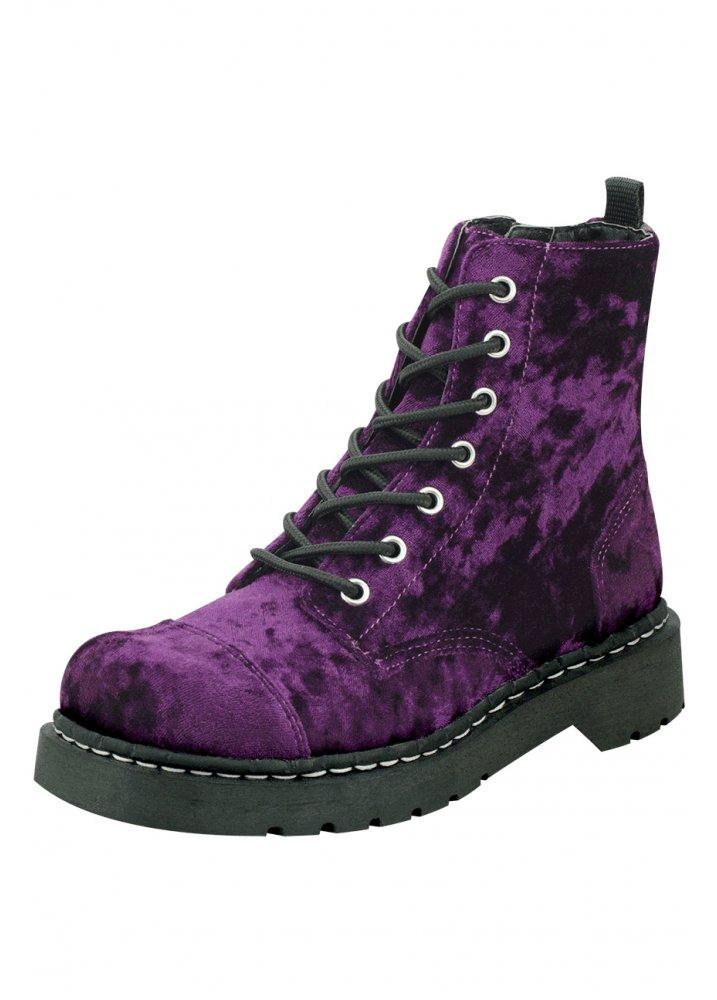 f4ca1206d0566 TUK Shoes Purple Crushed Velvet Combat Boot   Attitude Clothing