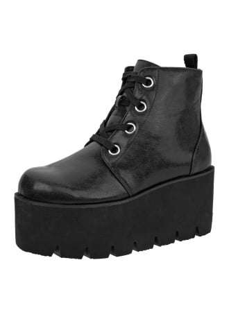 TUK Shoes Black 4-Eye Tractor Boot