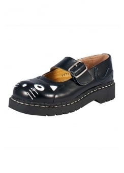 Black Leather Kitty Anarchic Mary Janes