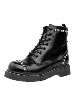 Black Leather Studded 7 Eye Anarchic Boot