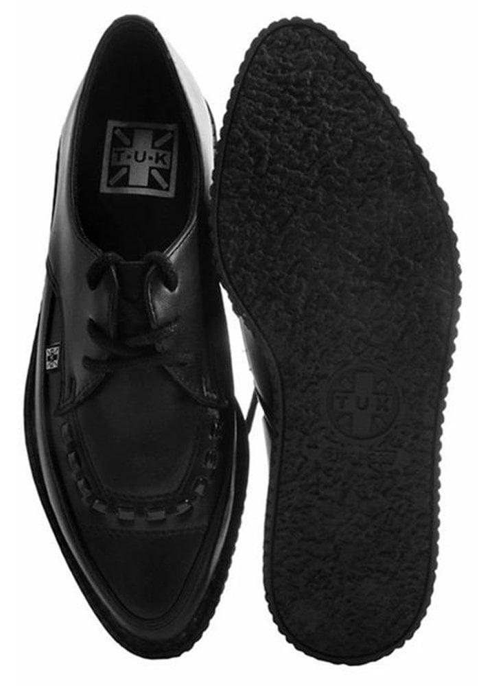 T.U.K Shoes Black TUKskin™ Lace Up Vegan Pointed Creeper
