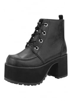 Distressed Black 4-Eye Vegan Nosebleed Boot